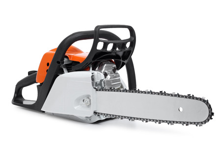 Modern new chain saw front-right view isolated on white