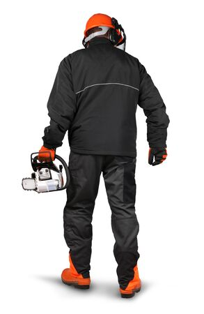 logger: Professional logger with chain saw , safety gear on