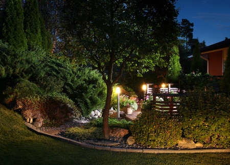 lamp light: Illuminated home garden evening patio lights illumination