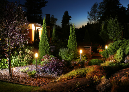 Illuminated home garden evening patio lights illumination