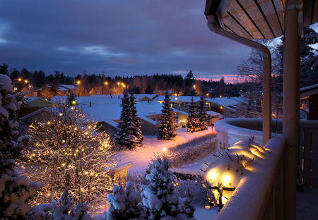 Christmas feeling winter home street scenery seen from balcony Stock Photo