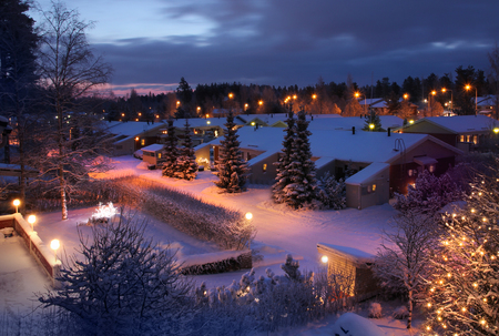 suburban home: Christmas feeling snowy winter home street evening scenery