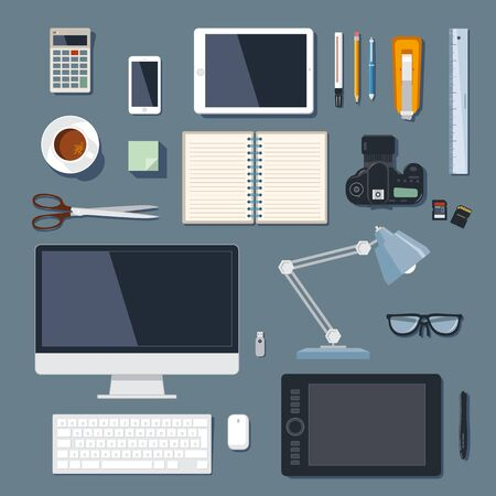 Modern and traditional office supplies for marketing and advertising agency