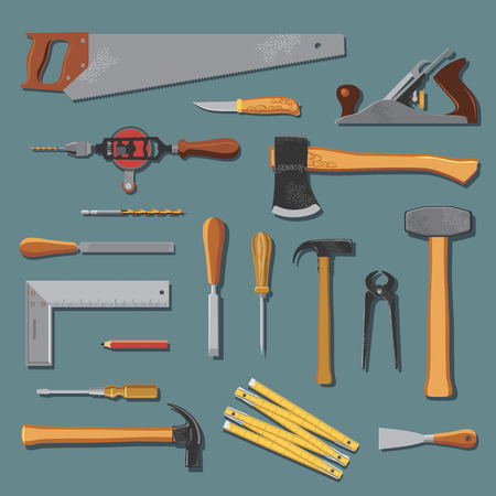 hammers: Old carpenter tools collection Illustration