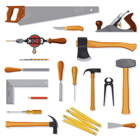 chisel: Old carpenter tools collection isolated on white Illustration