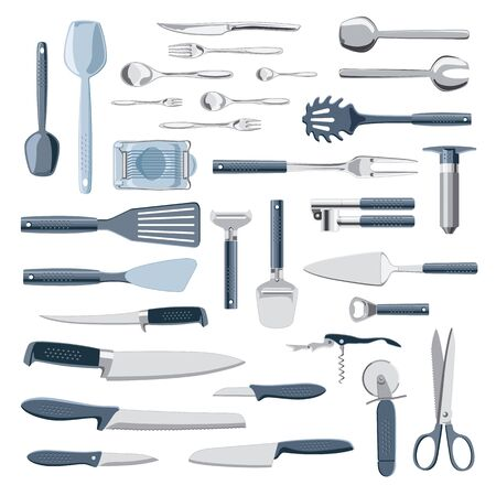 modern kitchen: Modern kitchen equipment and tools collection isolated on white