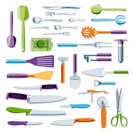 modern kitchen: Modern colorful kitchen equipment and tools collection