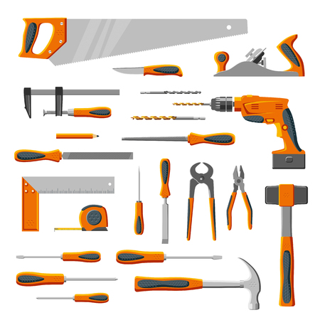 Modern DIY carpenter hand tools collection isolated on white Illustration