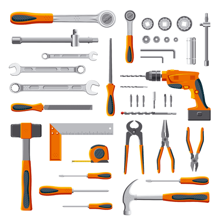 engineering tool: Modern mechanic tools set collection on white background