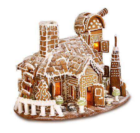 christmas house: Santas Christmas gingerbread house observatorium isolated
