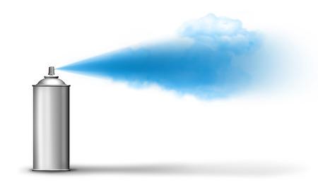 Aerosol can spraying blue paint cloud on white backround Archivio Fotografico