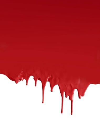 Dripping dark red on white background