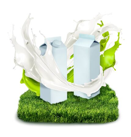 milk cans: Fresh milk cans with white and green splash on grass