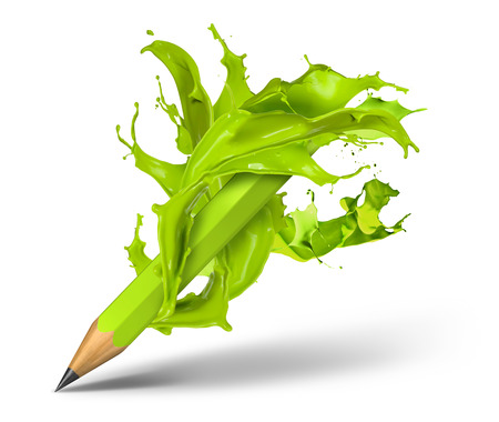 color pencil: Green paint colour splash around pencil, isolated background Stock Photo