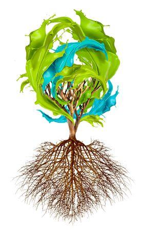 raices de plantas: El árbol con salpicaduras de color, concepto creatividad