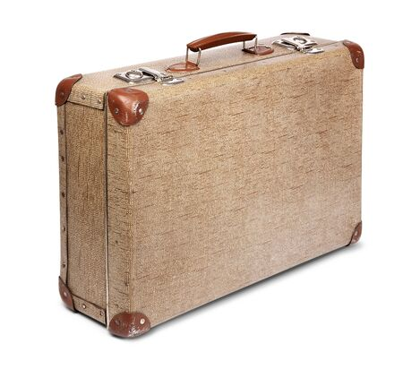 old vintage: Old vintage suitcase front left isolated on white Stock Photo
