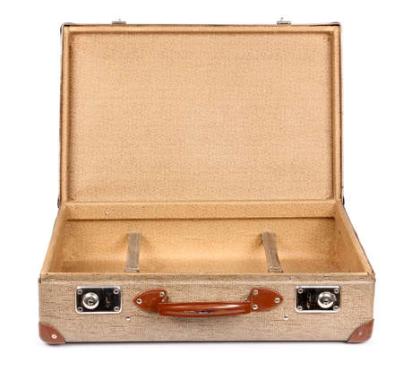 opened bag: Old vintage suitcase opened front isolated on white Stock Photo