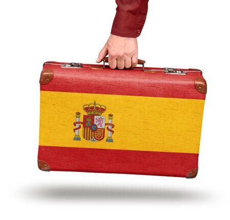 valise voyage: Vintage drapeau espagnol valise isolé sur blanc Voyage en Espagne notion
