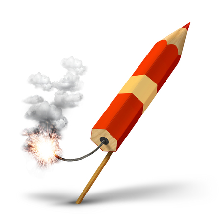 red pencil: Red pencil rocket ready for takeoff, creative writing concept Stock Photo