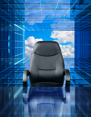 place of employment: Empty executive chair in front of a perspective future window Stock Photo