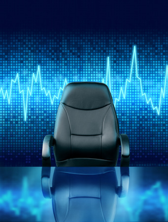 Empty executive chair on stock rate graph pulse background
