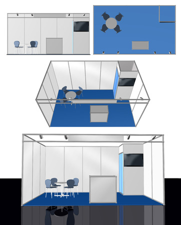 exhibitions: Exhibition stand 3D template, add your own design