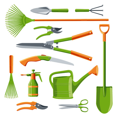 harrow: Essential gardening tools kit vector set isolated on white