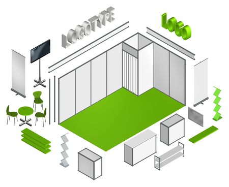 exhibitions: Basic exhibition stand isometric 3D template, move or flip elements and apply your own design