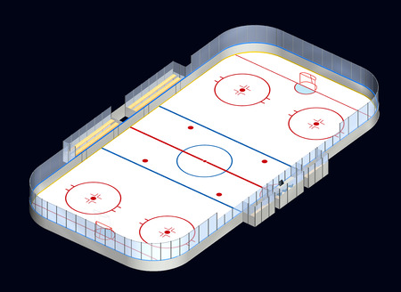 offside: Ice hockey rink detailed 3D illustration isometric view isolated on dark background