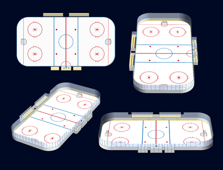 offside: Ice hockey rink detailed 3D illustration four views, isolated on dark background