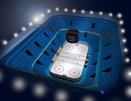 offside: Modern ice hockey stadium arena 3D illustration Stock Photo