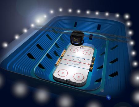 arena: Modern ice hockey stadium arena 3D illustration Stock Photo