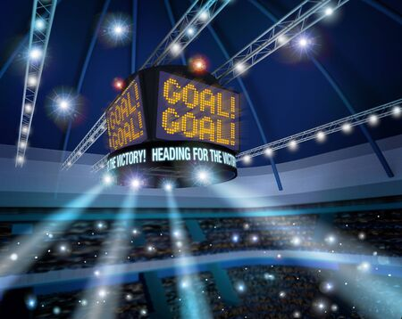 arena: Stadium lights celebrating goal, electronic scoreboard display 3d