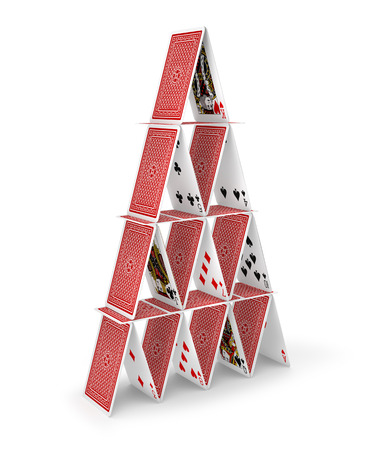 tower house: House of cards tower 3D isolated on white Stock Photo
