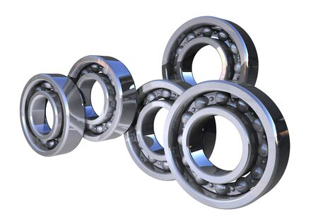 silver reflection: Shiny 3d ball bearings rolling isolated on white background