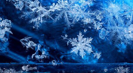 cold season: Elements of cold winter season frozen ice crystal snow flakes Stock Photo