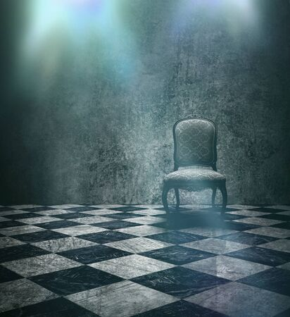 aged: Antique chair in rough patina silver wall and checkered marble floor stage Stock Photo