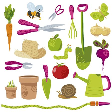 Sympathetic gardening tools and vegetables vector icons set on white