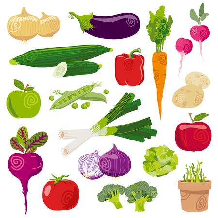 Garden vegetables fresh cartoon vector set isolated on white