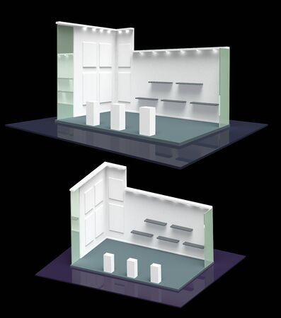 panels: Stylish modern gallery style blank exhibition stand perspective and isometric 3D Stock Photo