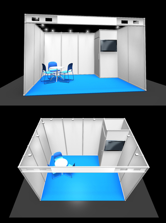 Basic exhibition stand booth construction 3D template, top and front, add your own design Stock Photo
