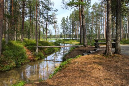 Forest lake and narrow creek in Hossa national park Finland