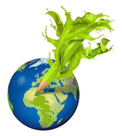 Green splash pencil coloring the planet green