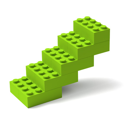 Stairs made of green toy building blocks 3D, advance progress growth concept