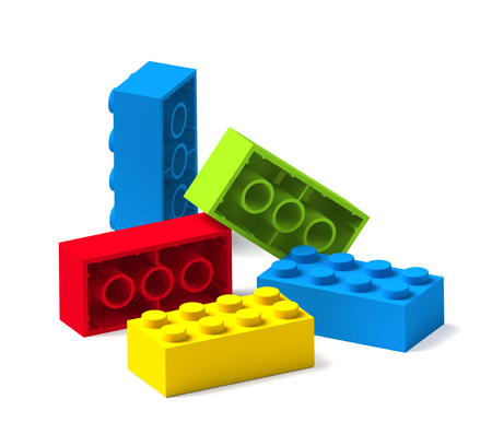 Colorful building toy blocks 3D isolated on white