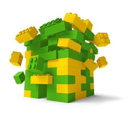 the collapsing: Toy building blocks fortress tower collapsing 3D isolated on white, low angle
