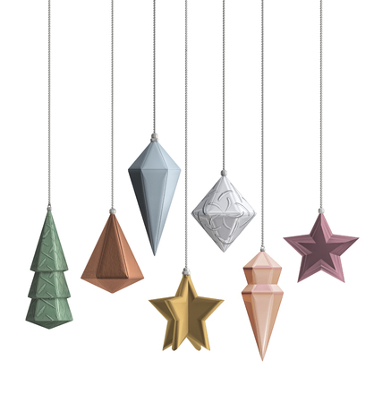 Modern design Christmas decoration objects 3D metallic color desaturated