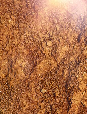 Hot and dry agricultural red brown soil detail natural background