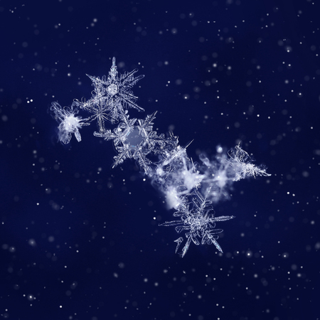 Snow crystals on dark blue background like Ursa Major star constellation