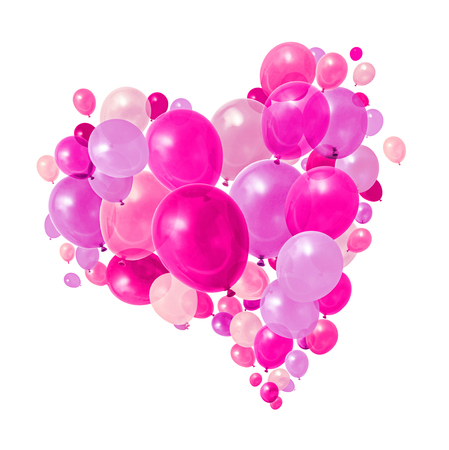 Pink and purple balloons flying heart shape formation white background